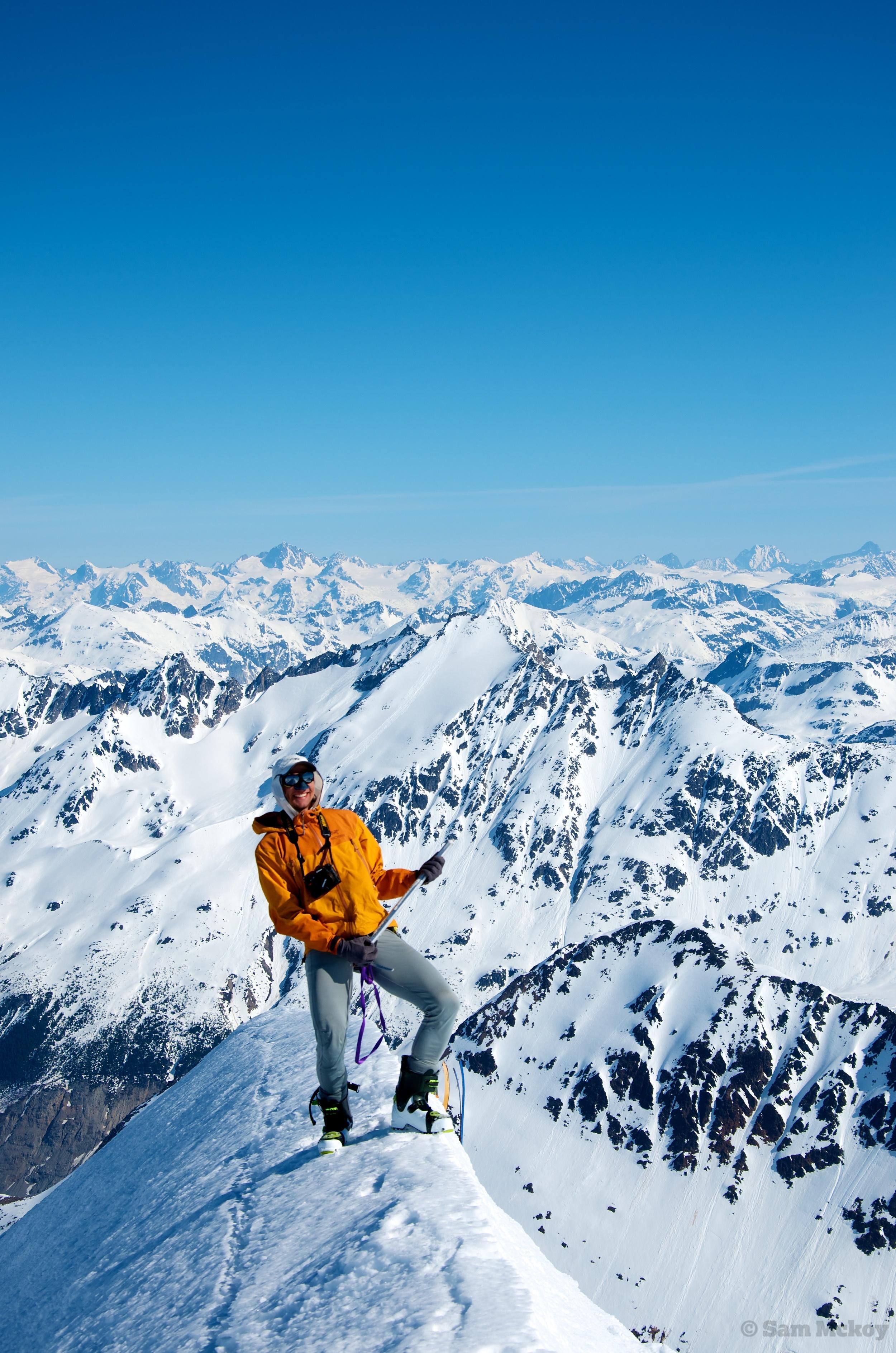 Matwyuk on the summit ridge of Silverthrone.