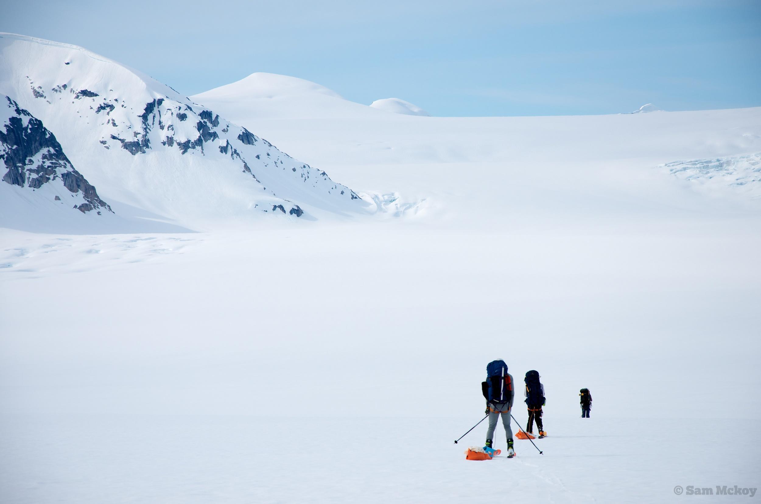 Crossing the Silverthrone Glacier.