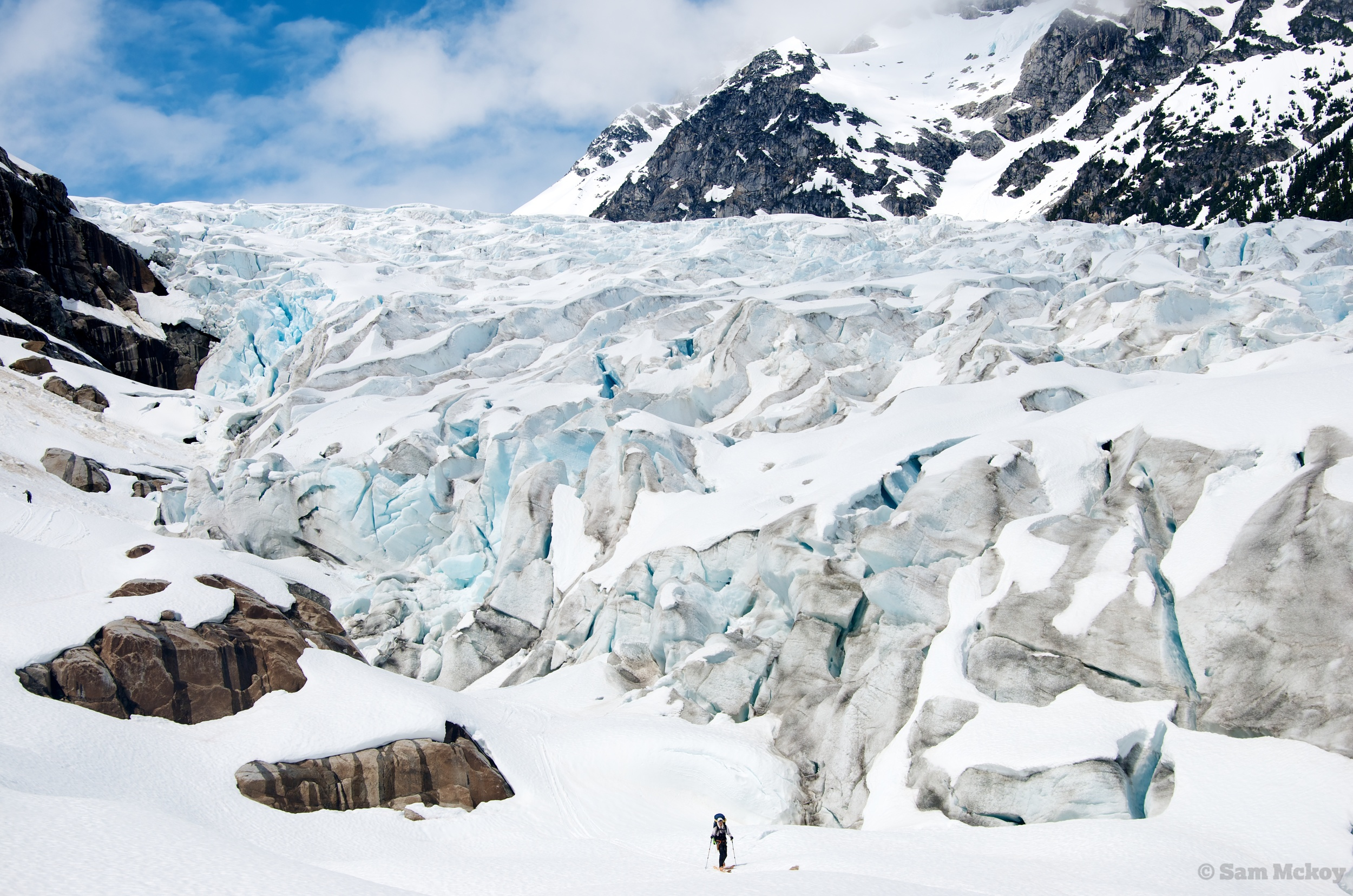 Nic beneath the Tumult Glacier.