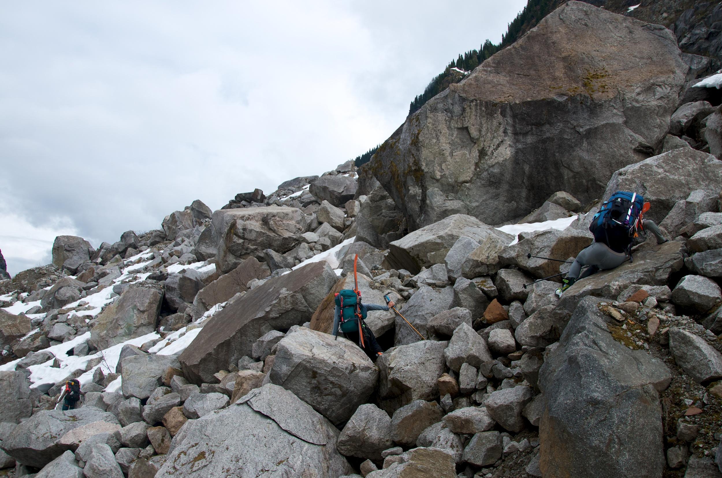Crossing boulders.