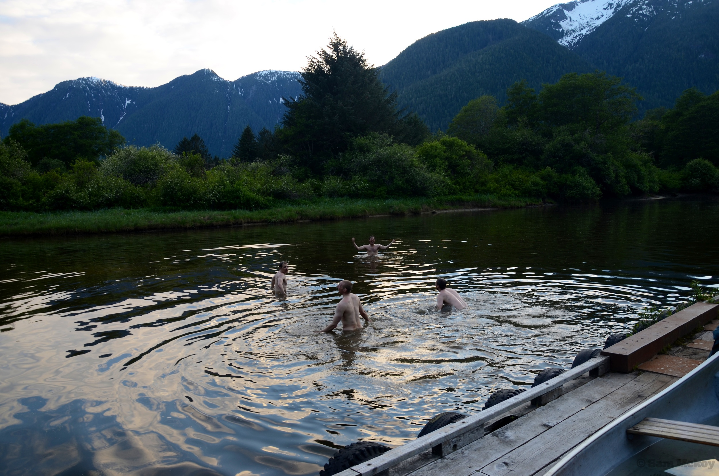 """The group going for a swim in the """"ocean"""" near camp."""