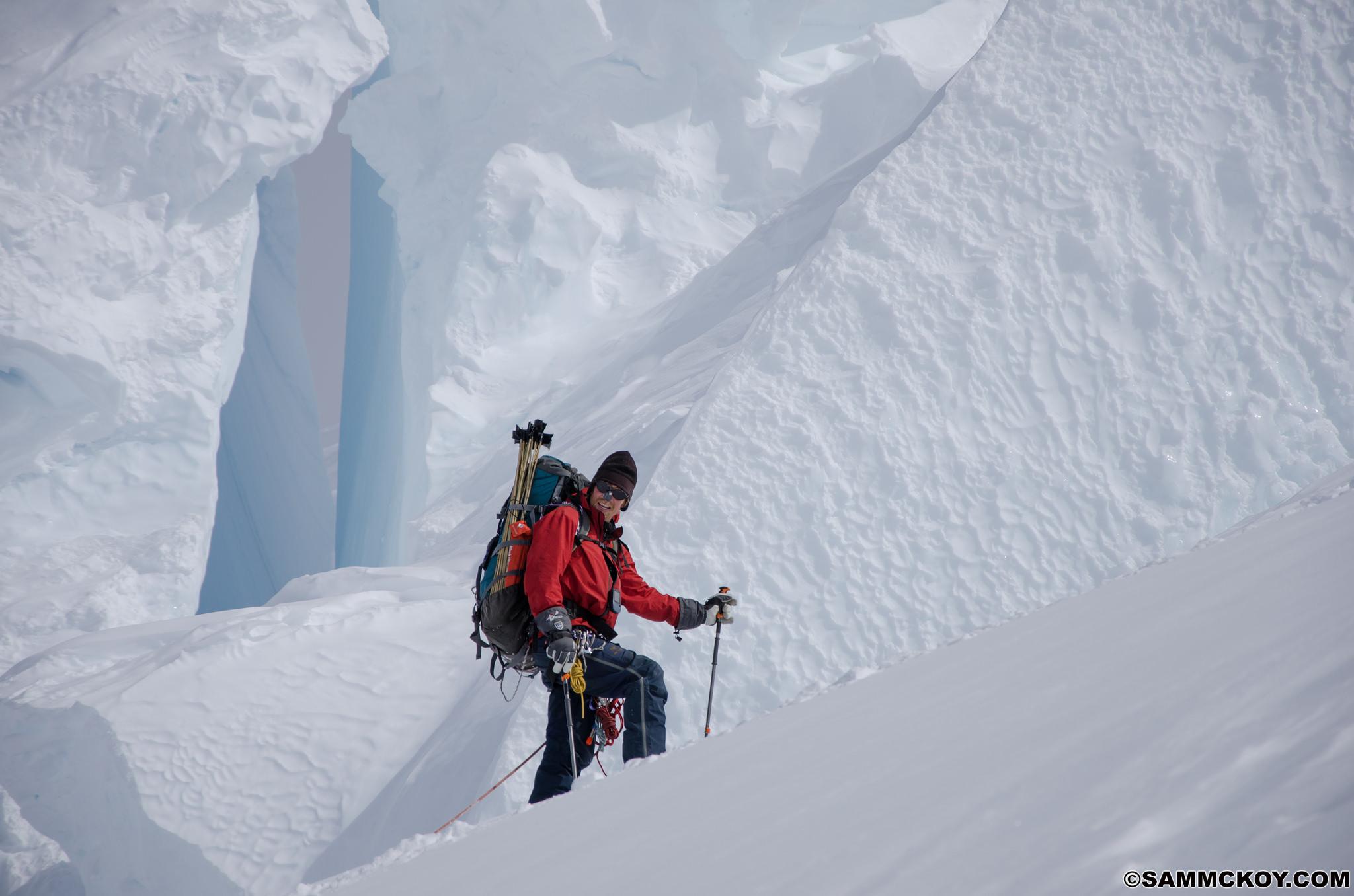 Rich Prohaska navigating through seracs above King Col Camp
