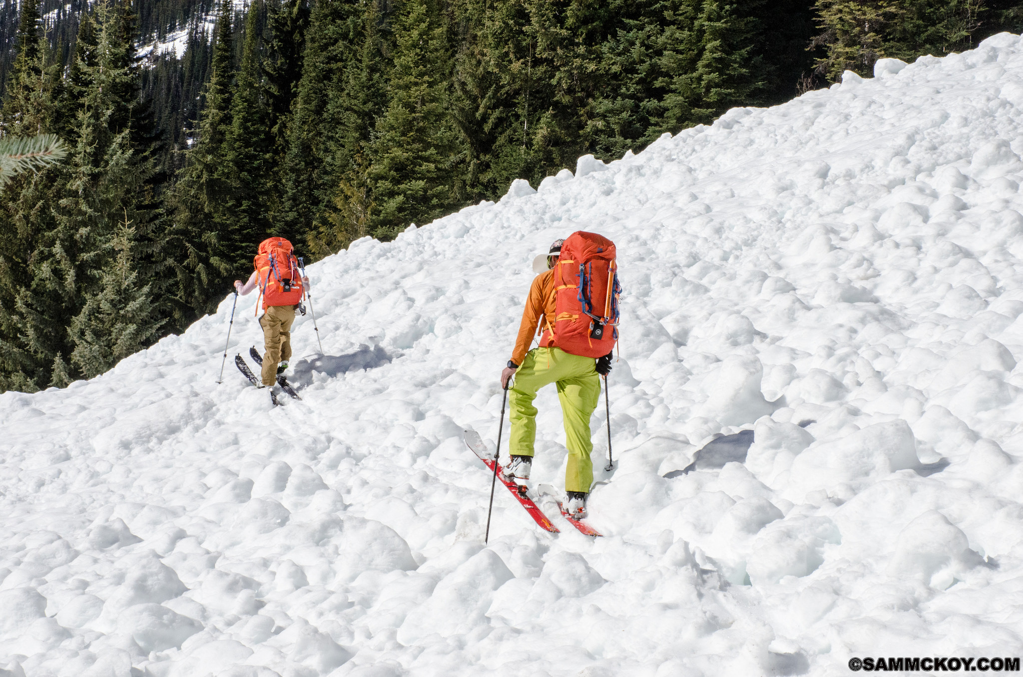 It was common to be passing over large pieces of avalanche debris.