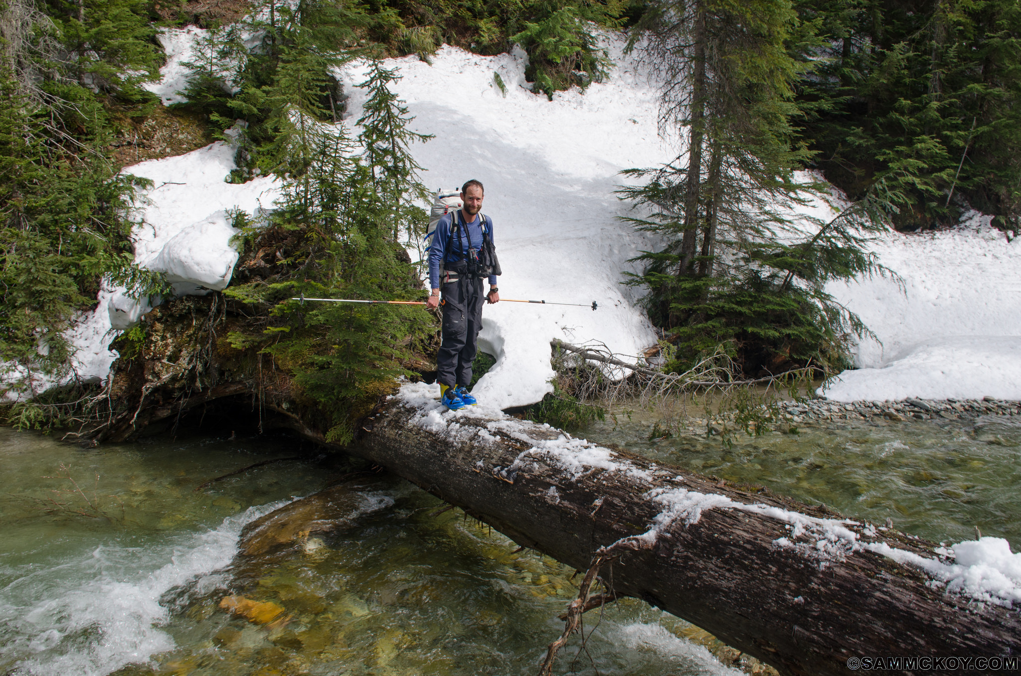 Mark crossing Ursus Creek. We'll compare this photo later to some of the other rivers met on the traverse (wink).