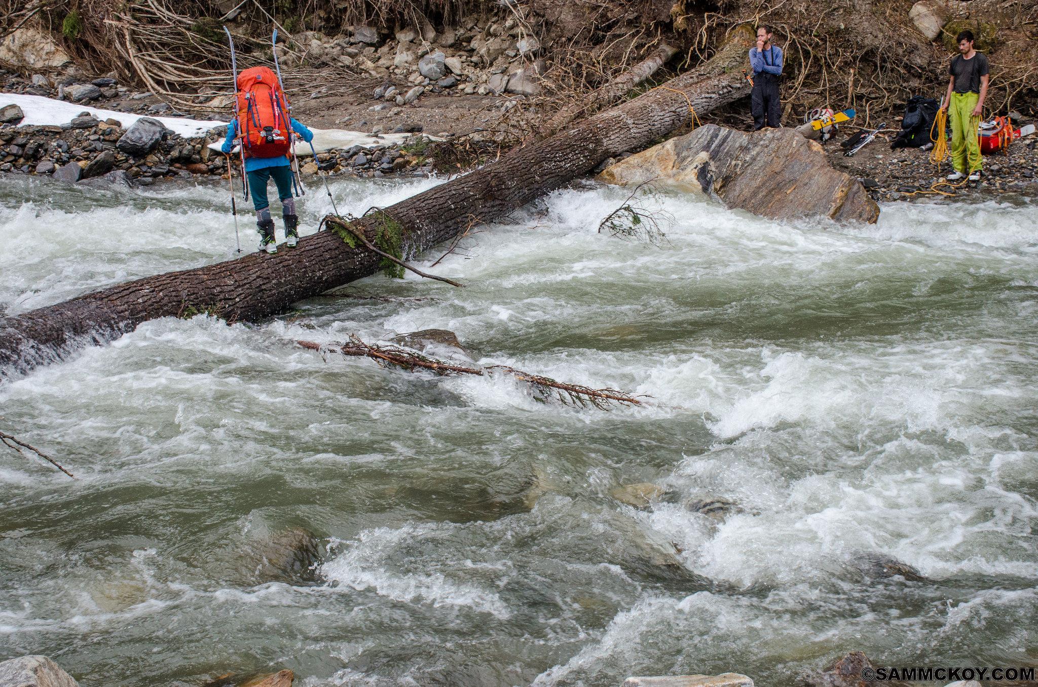 Madeleine on the last half of the log crossing of Windy Creek.