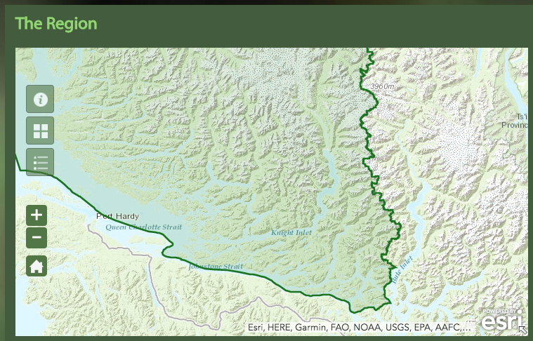 Similarly, Knight Inlet is clearly part of the Great Bear rainforest, but only small areas have been closed to hunting.