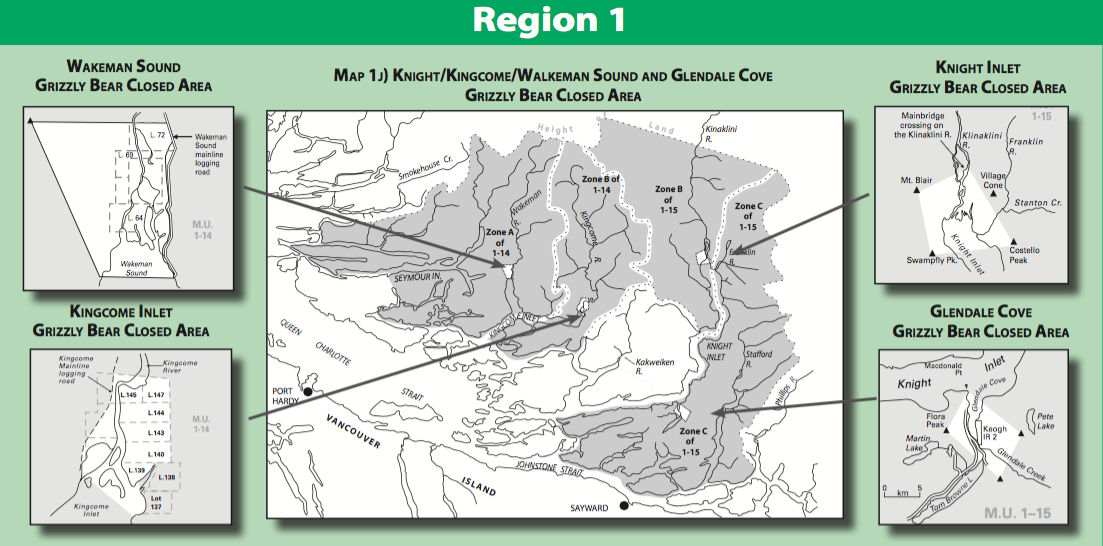 Only very small portions of the areas surrounding Knight Inlet have been closed to hunting.