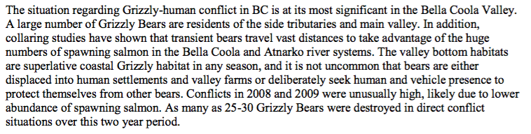 This passage describes the conflicts bears have with people and how development may continue to affect bears.