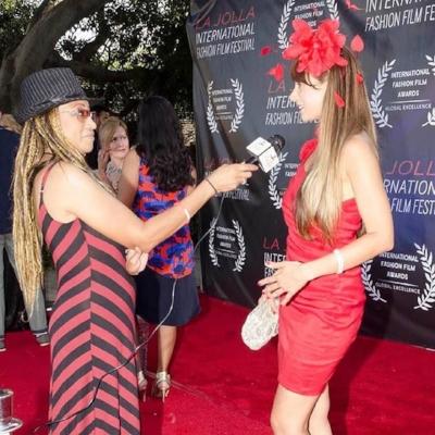 Red carpet interview at the  La Jolla International Fashion Film Festival