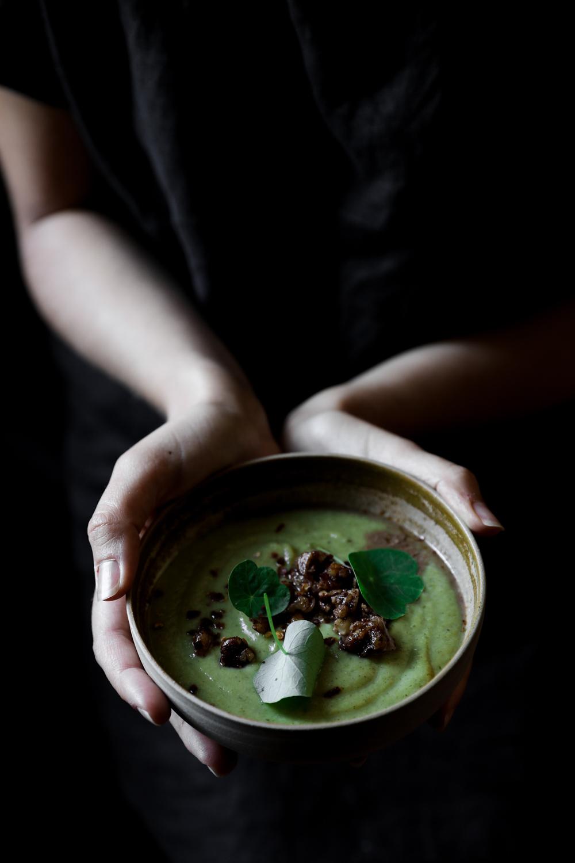 Broccoli Soup with Walnut Salsa⎜The Botanical Kitchen