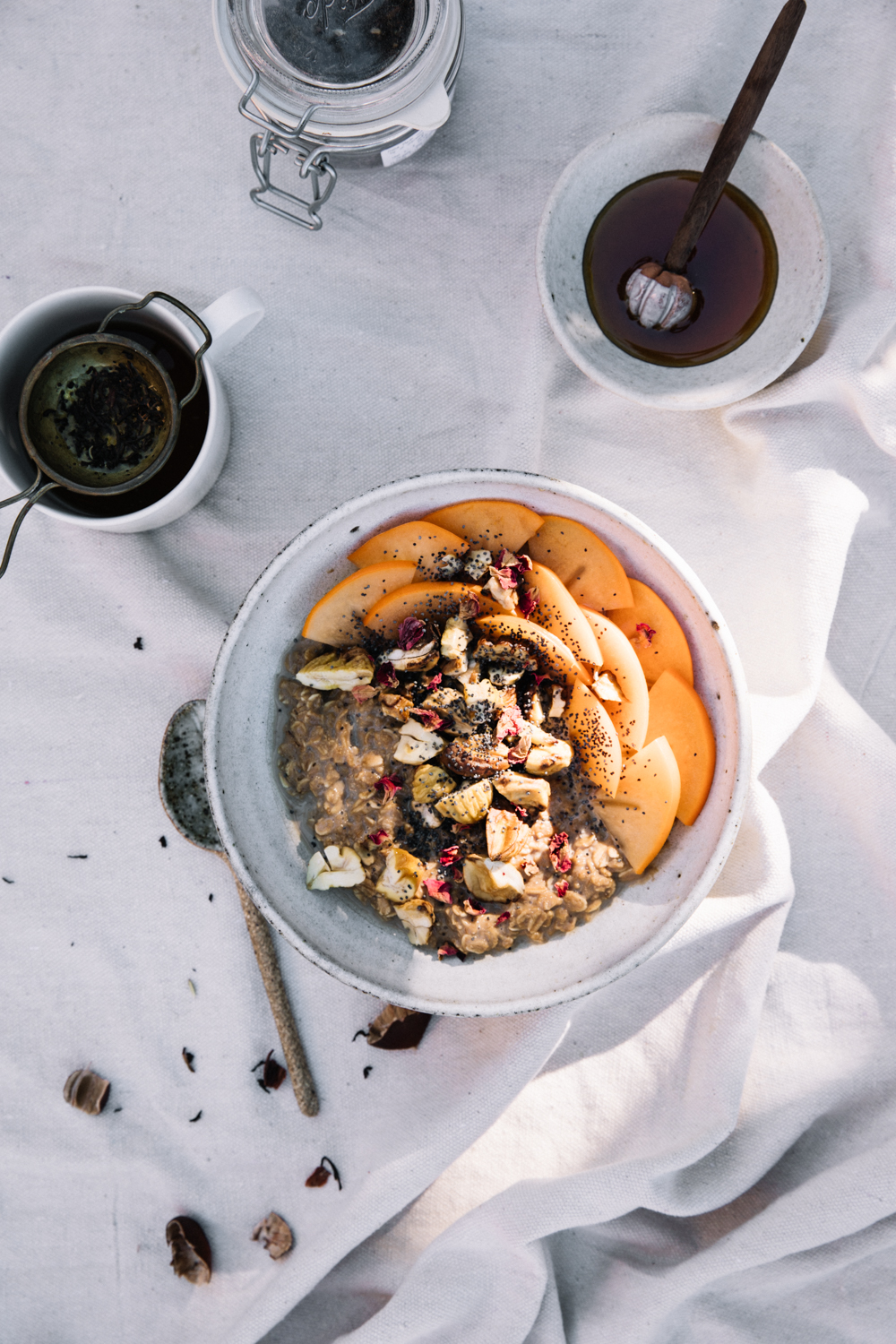 Chai Spiced Porridge with Roasted Chestnut, Persimmon & Rose⎜The Botanical Kitchen