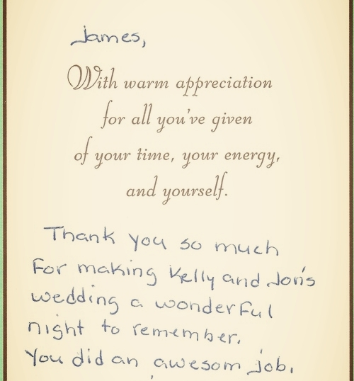 """Always great to get """"Thank You's"""" after the event has wrapped, It really means something special to know you played a role in someone's special day."""
