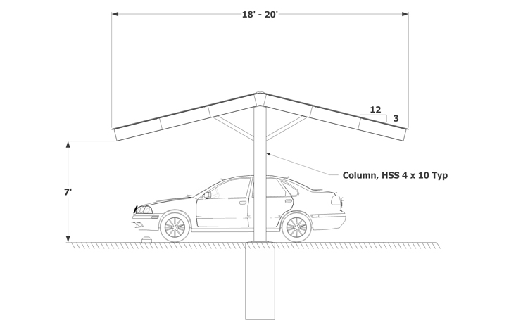 Carport Single Column even gable sketch