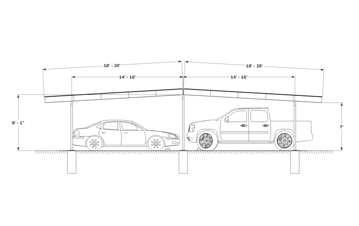 Carport Double Gable Sketch