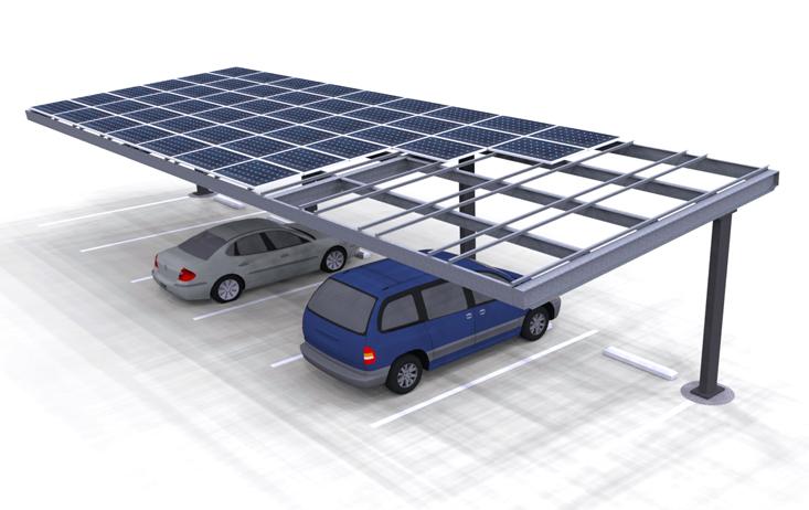 Solar Carport Single Column Render