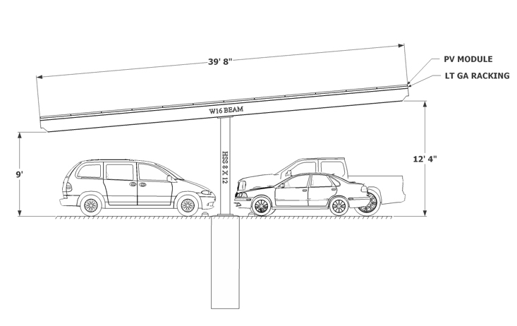 Solar Carport sketch Single Column