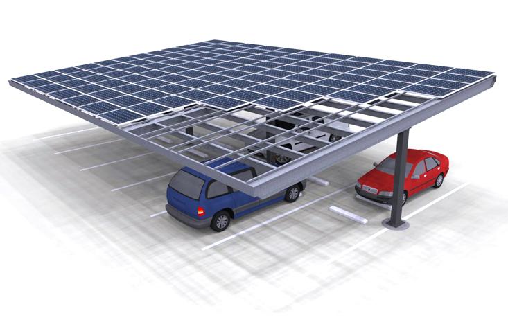 Solar carport Render Single Column