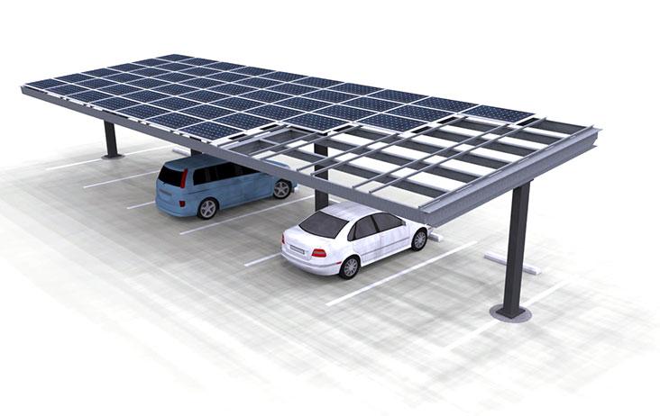 Solar Carport Singe Column T Render