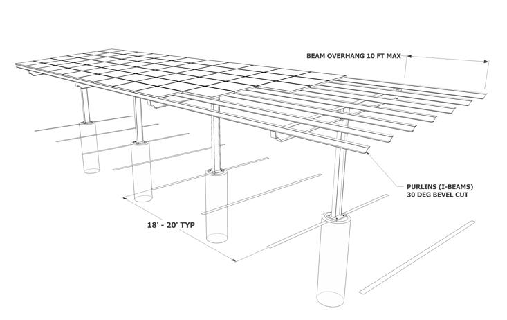 Solar Carport Single Column Sketch