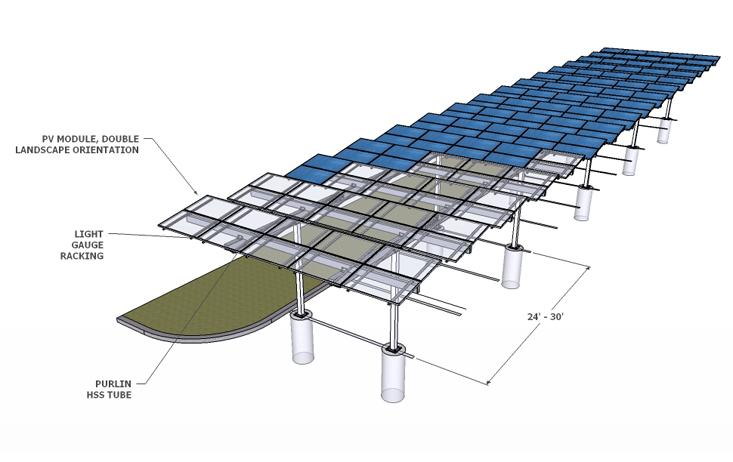 Solar Carport Louvered Single Render
