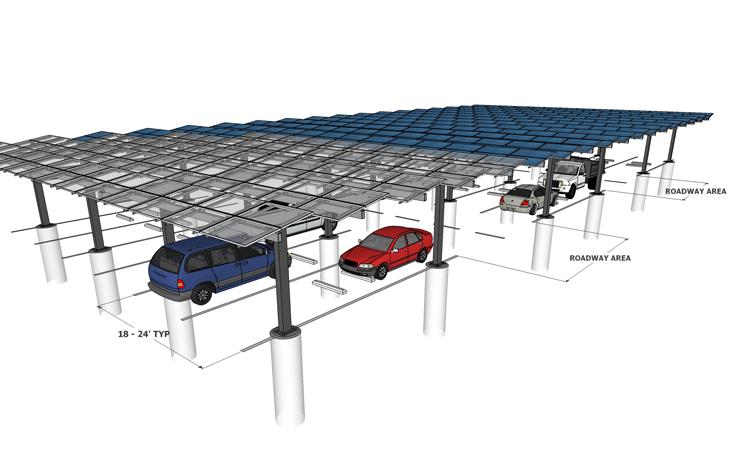Solar Carport Louvered Multi Lane Render
