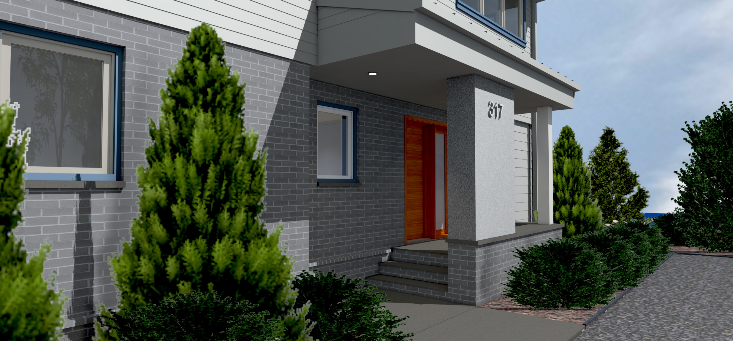 South Entry Porch Perspective Rendering