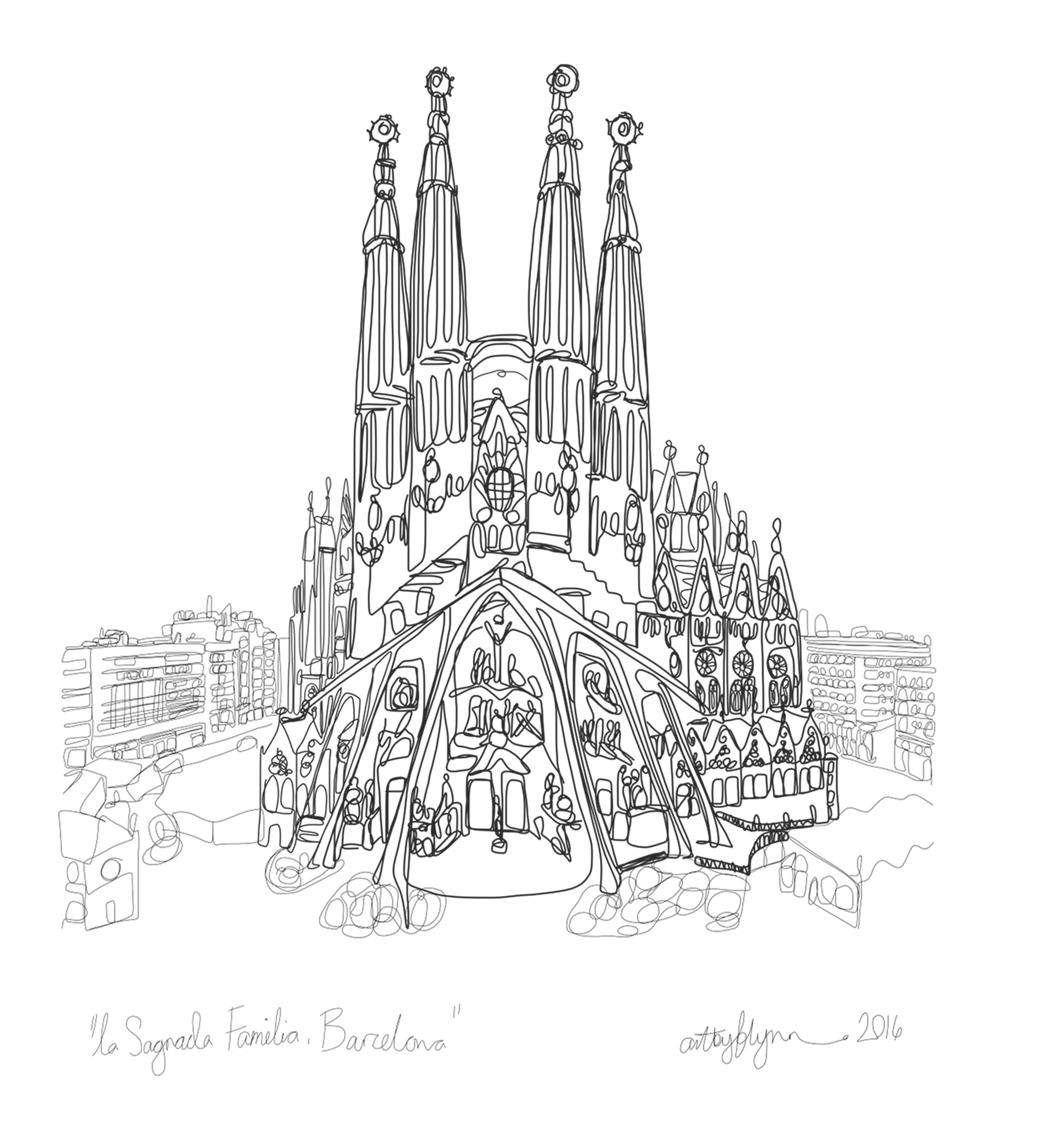 Sagrada Familia doodle from my January Challenge