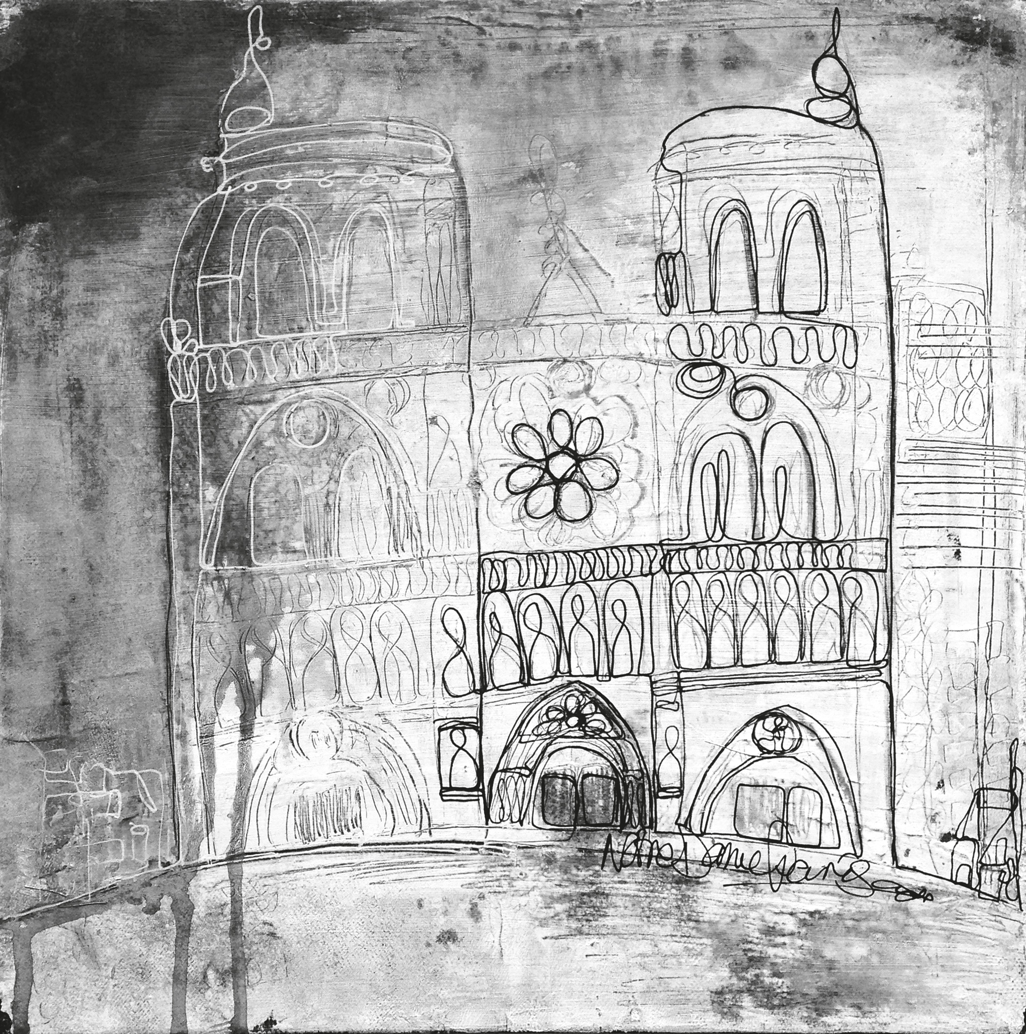 Notre Dame first attempt.. Mixed media on canvas 12x12