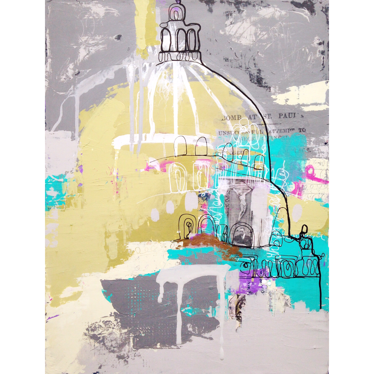 """""""History of St Paul's Cathedral"""" Acrylic on canvas 12x16"""