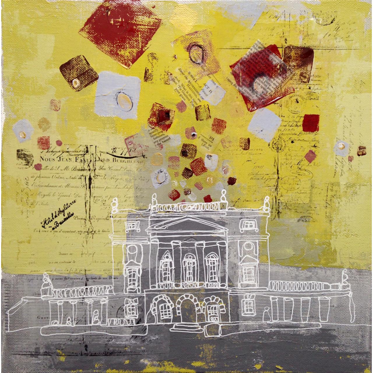 Acrylic, gel medium transfer & collage on canvas (12x12)