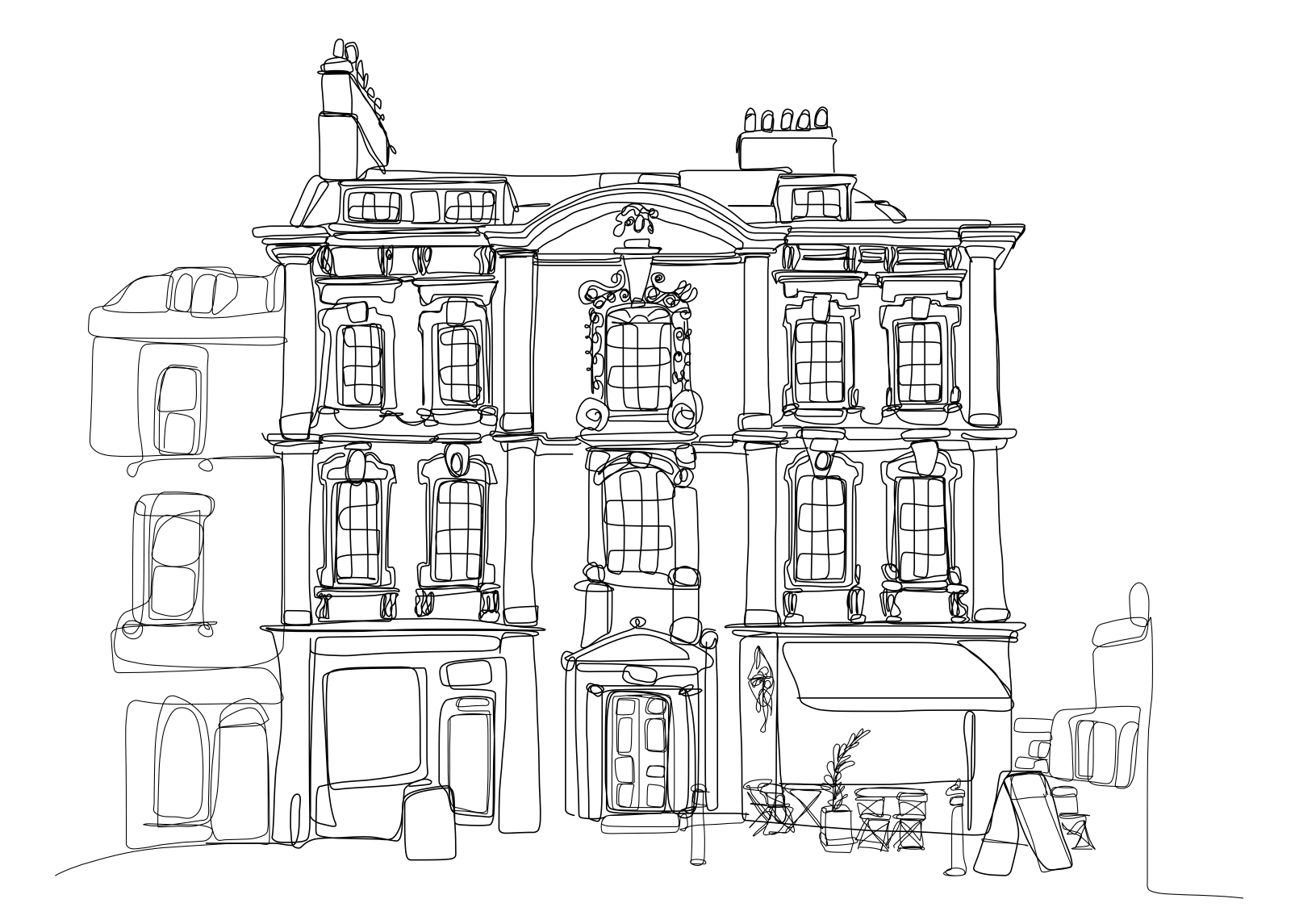 Doodle of a Rosewell house &cafe on Kingsmead Square in Bath