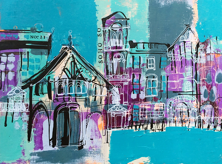 Soho Square, London (Acrylic on canvas 12x16)