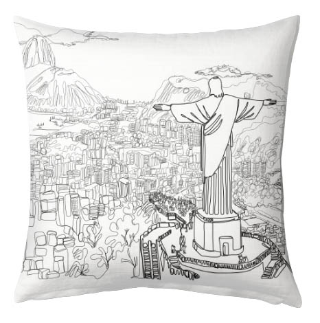 Luxury faux suede Rio Doodle cushion from £25