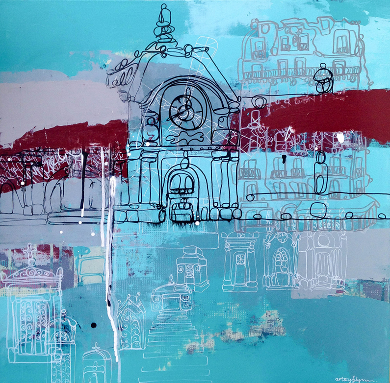 """""""leave your mark, Paris"""" 24x24 inches"""