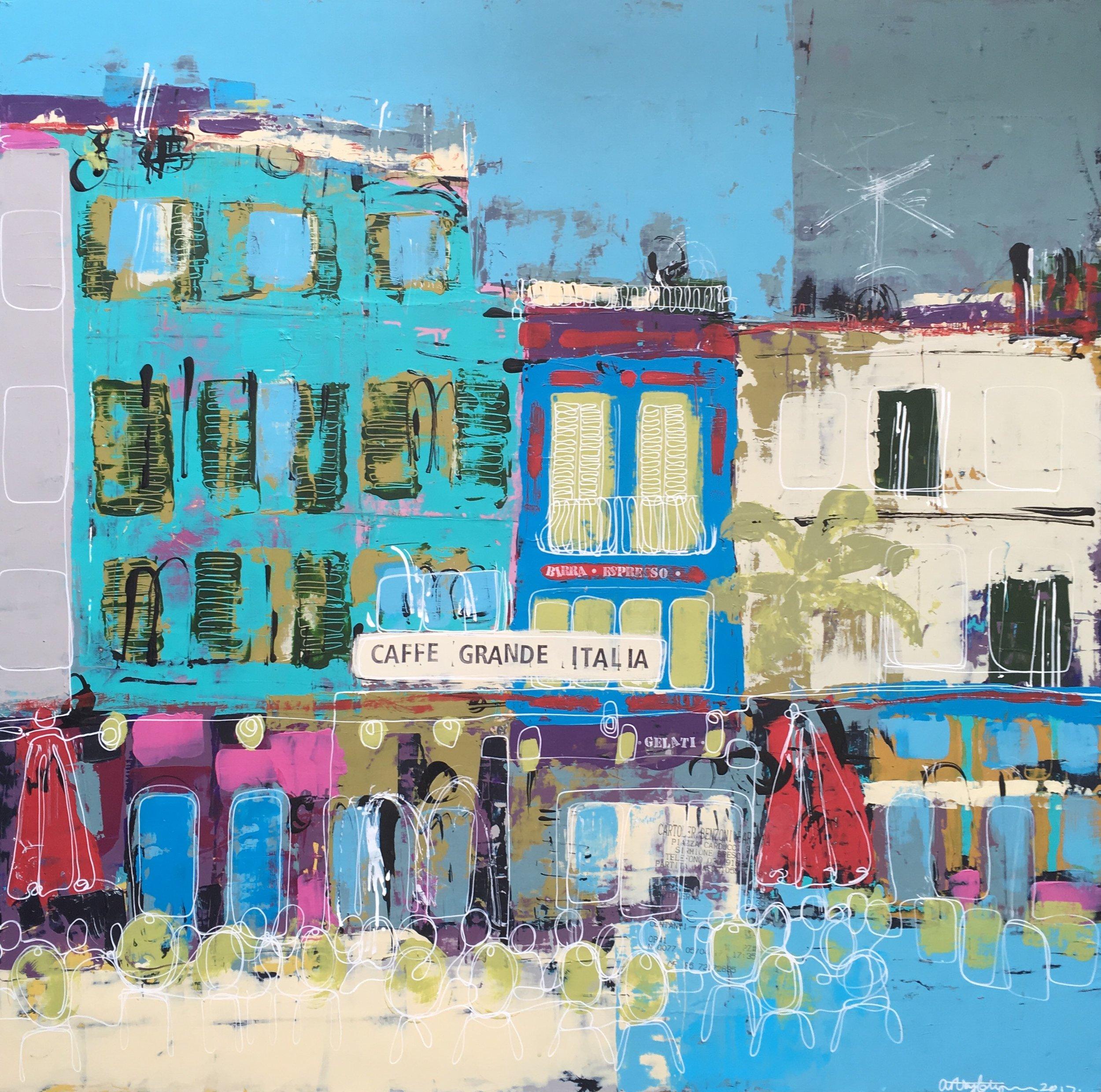 caffe grande italia, sirmione (acrylic on canvas 24x24)
