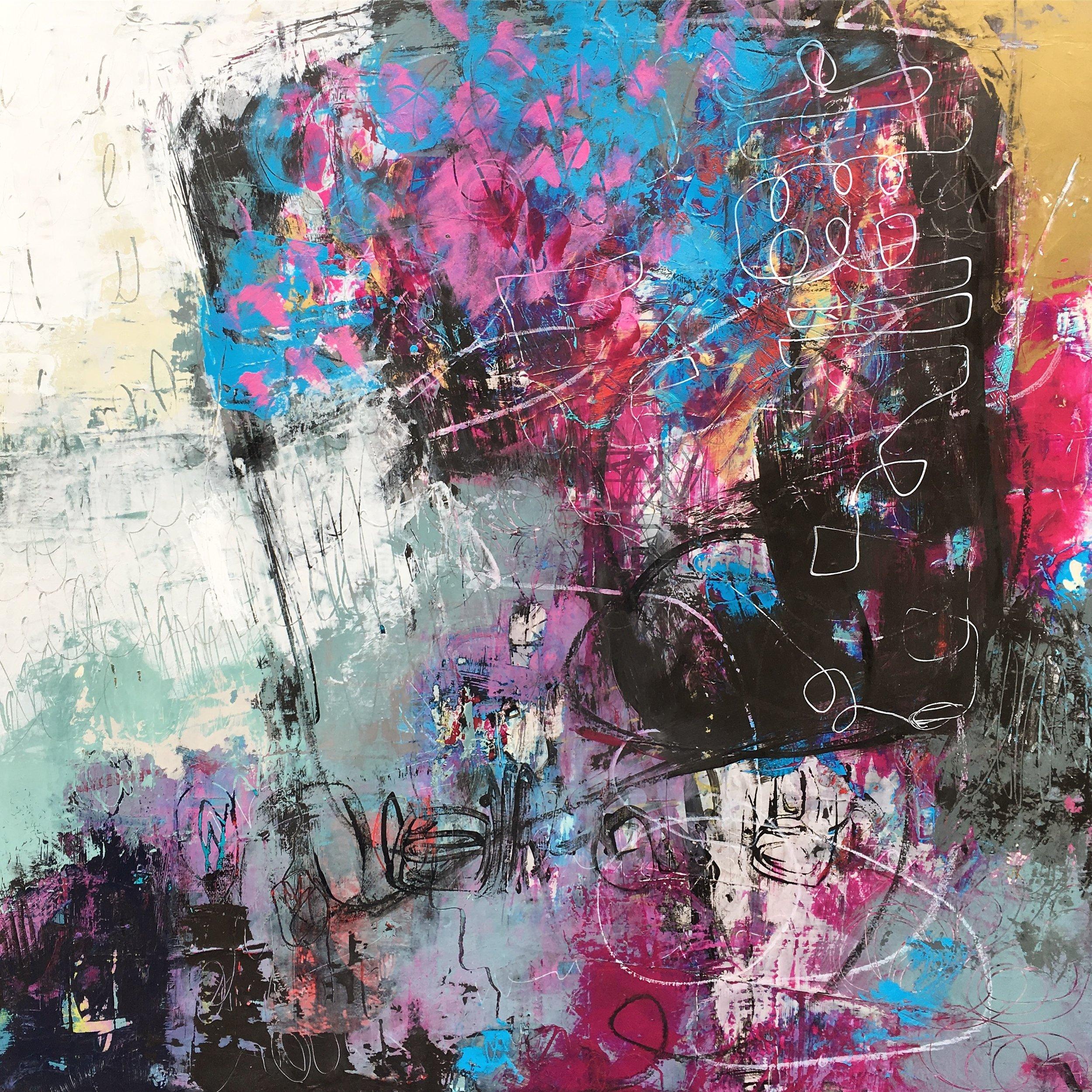 Acrylic & mixed media on canvas 20x20