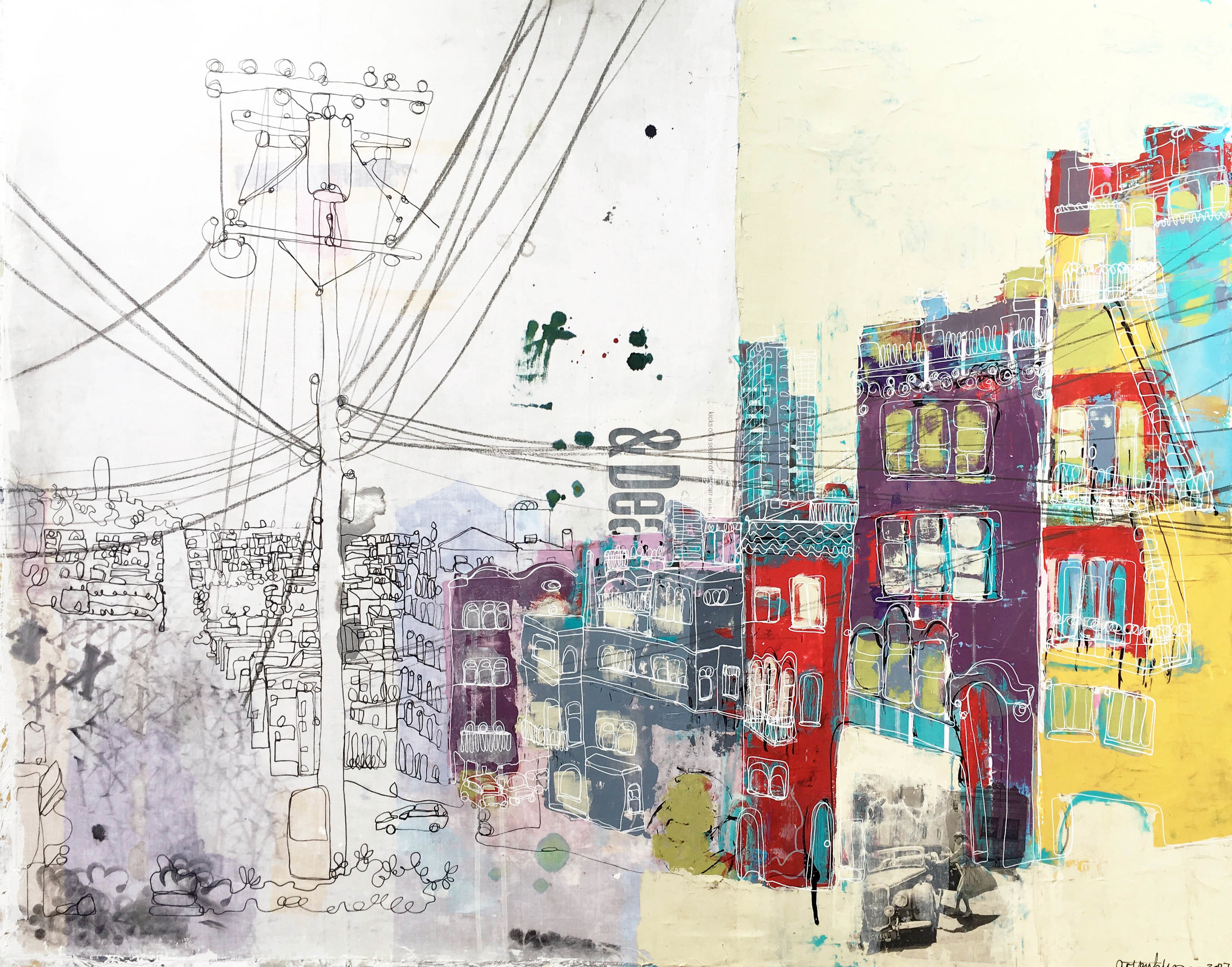 """San Francisco View from Russian Hill 30x40"""" (recycled fabric, acrylic paint and inks)"""