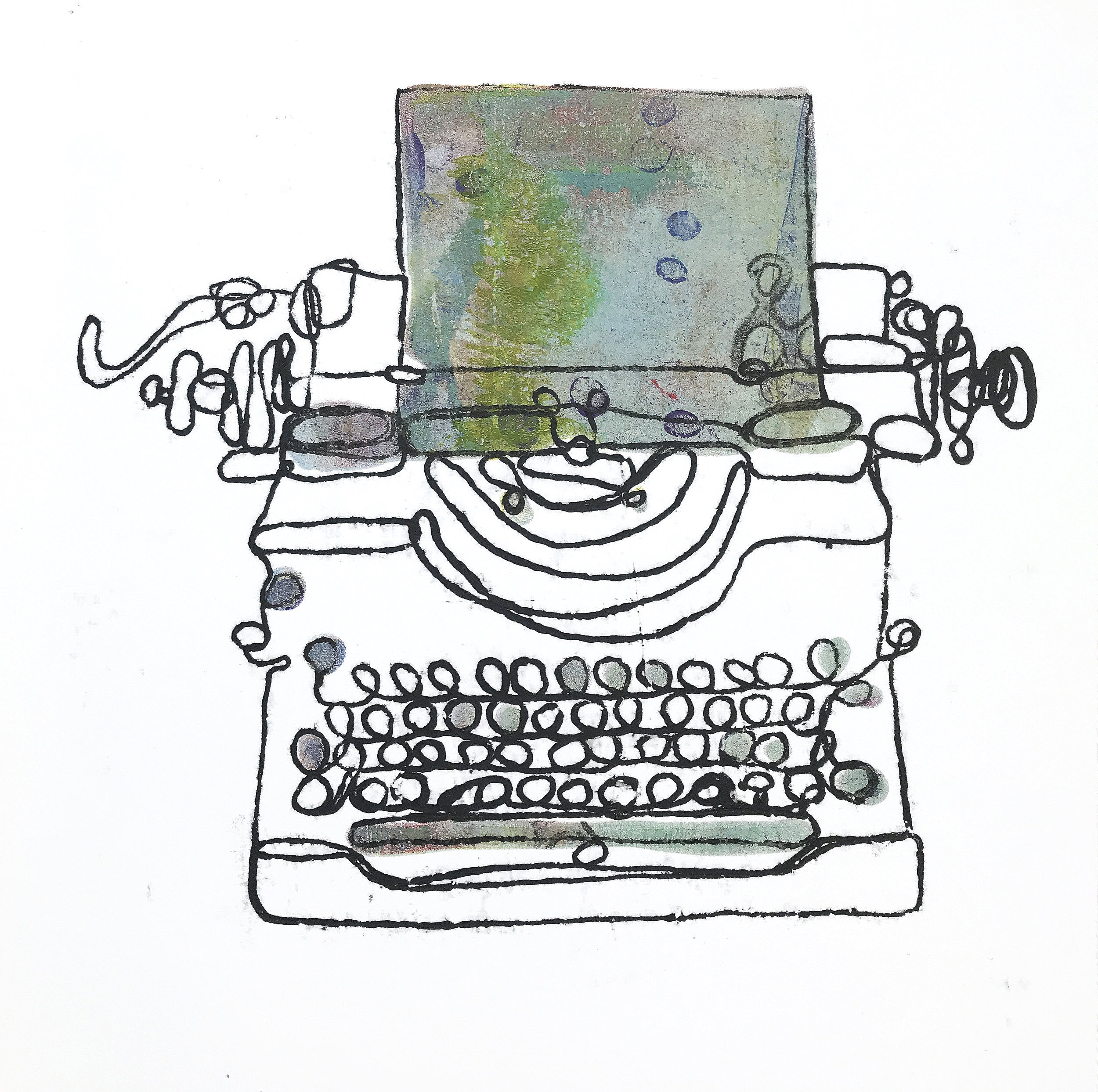 Typewriter Monoprint (number 3) & what happens next in your story?