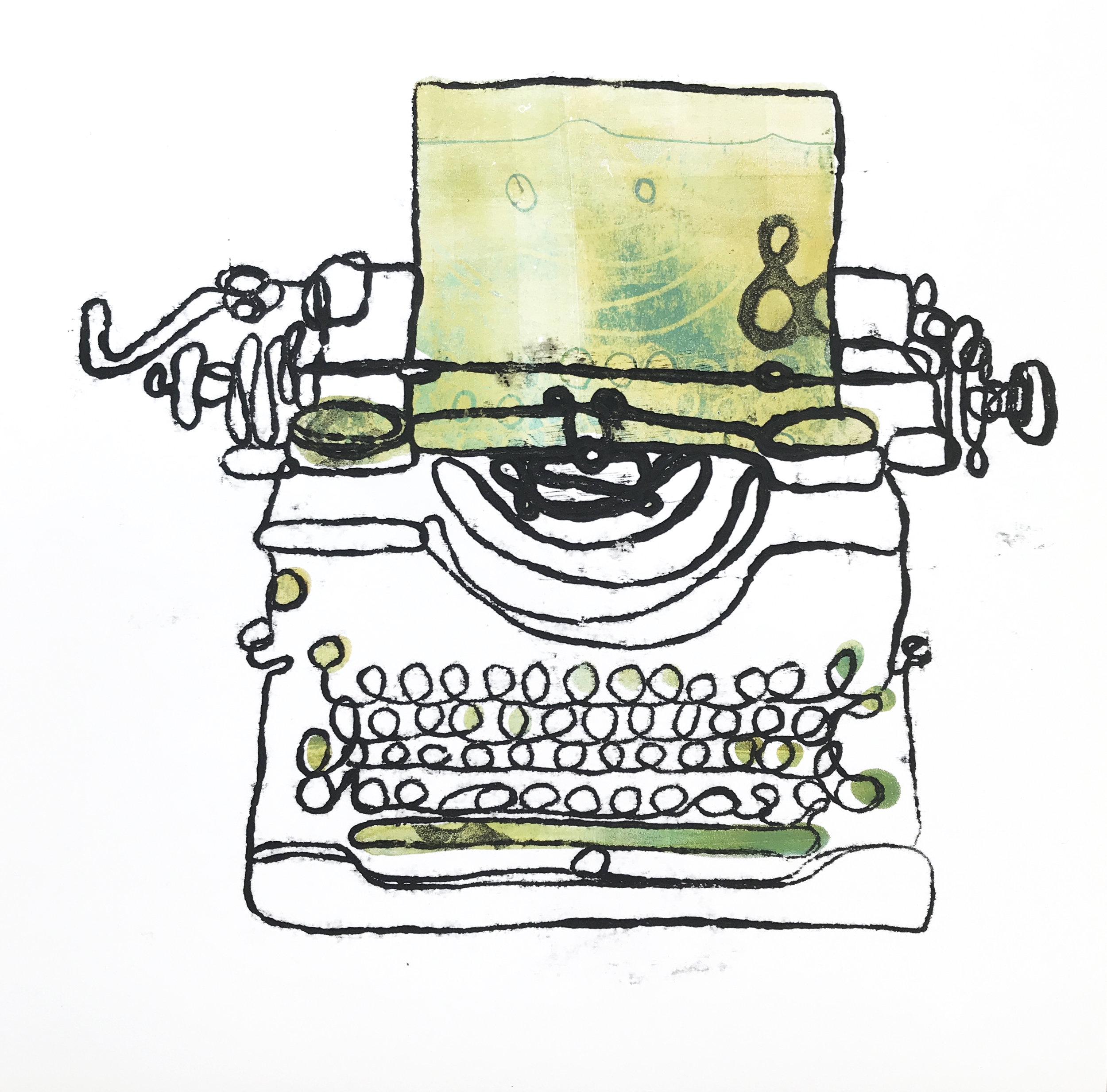 Typewriter Monoprint (number 2) & what happens next in your story?