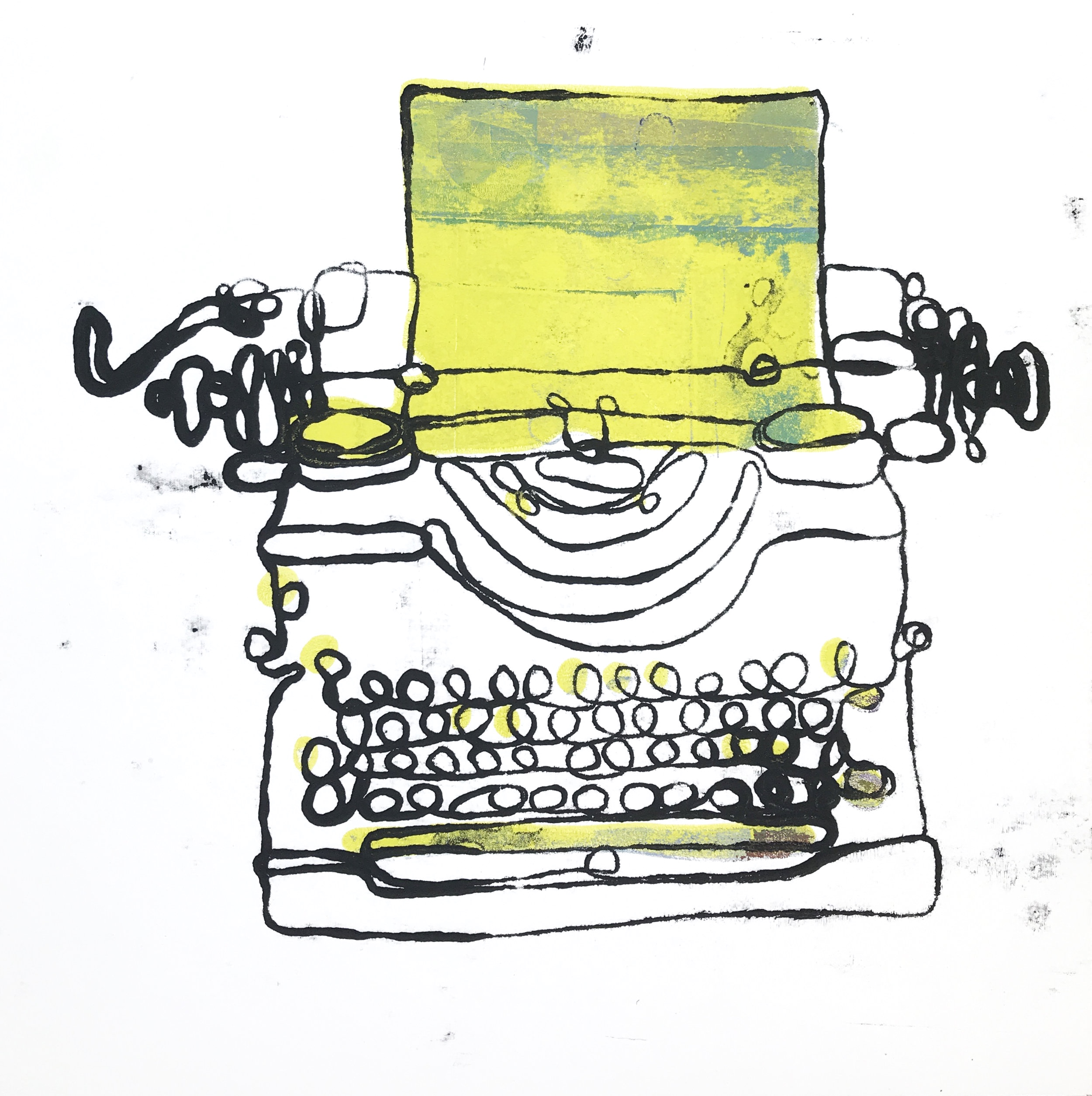 Typewriter Monoprint (number 1) & what happens next in your story?