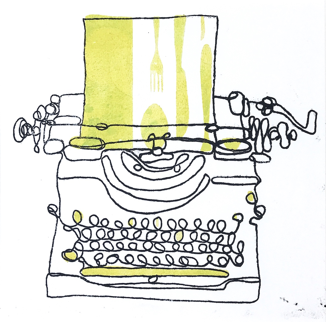 Typewriter Monoprint (number 8) That's food for thought