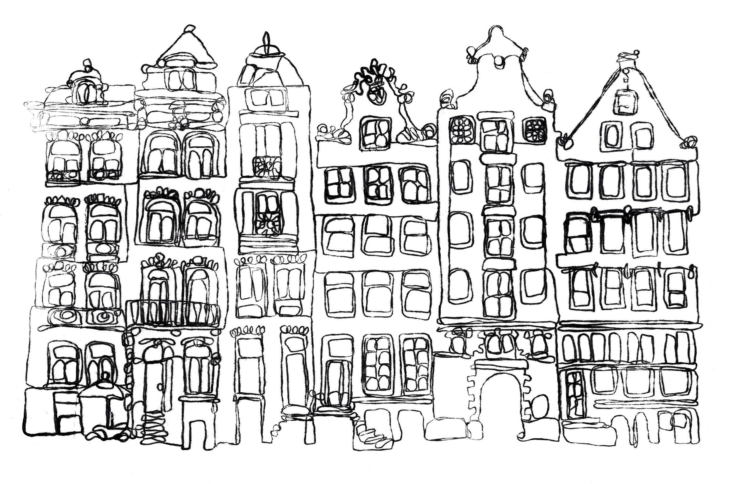 Amsterdam street Monoprint