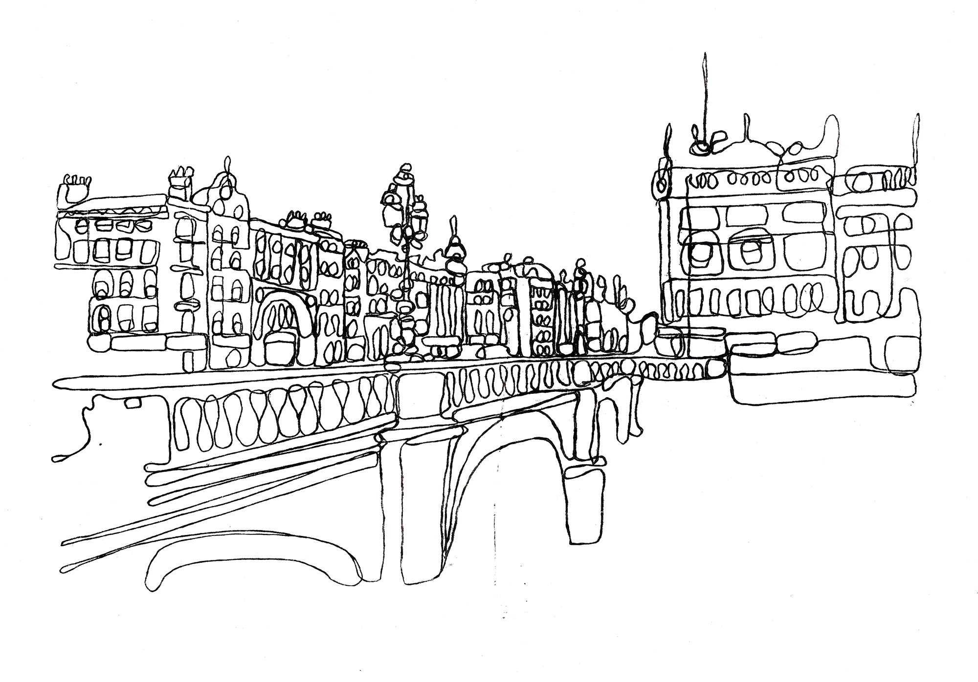 Dublin O'Connell Bridge monoprint