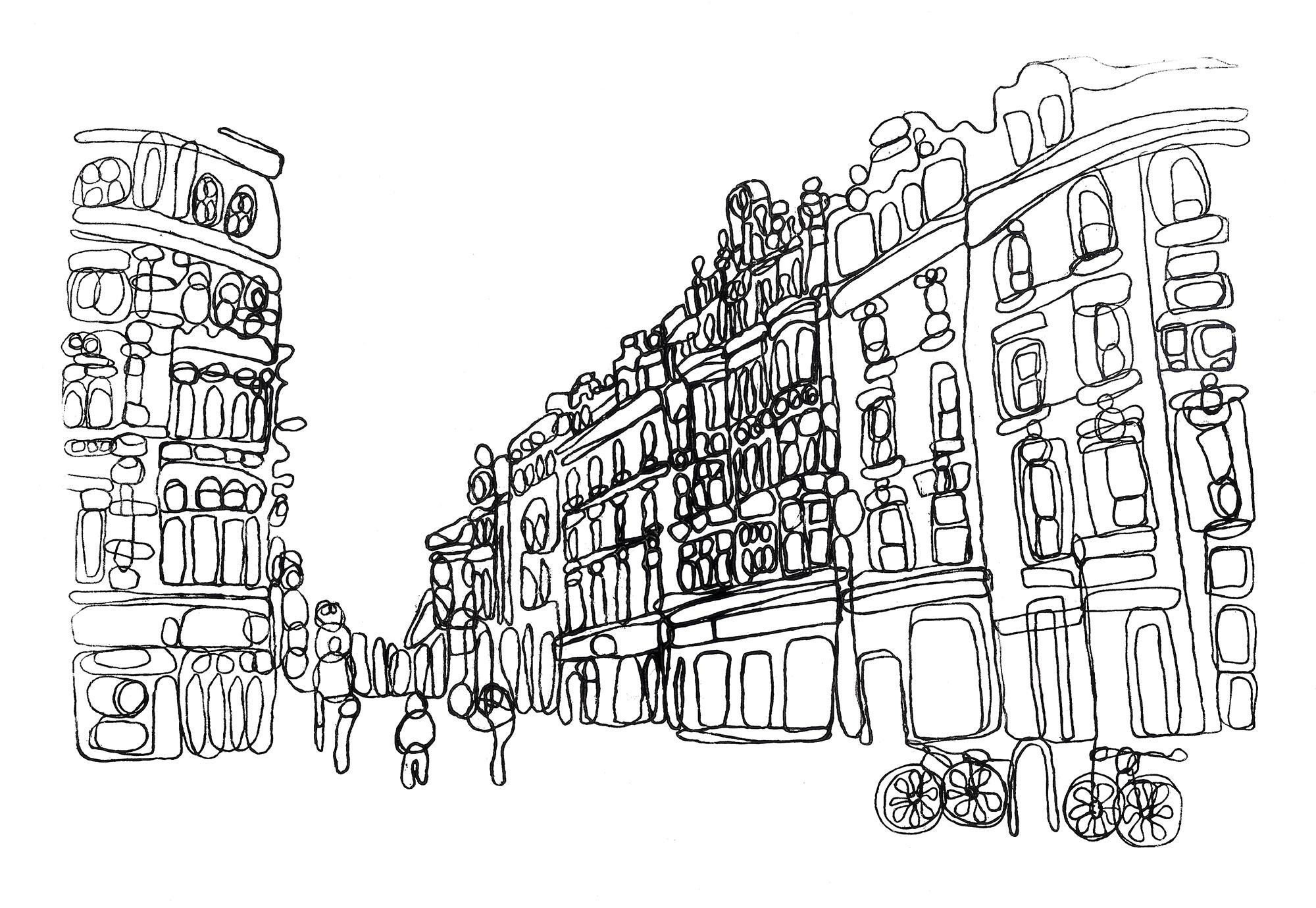 Dublin Grafton Street Monoprint