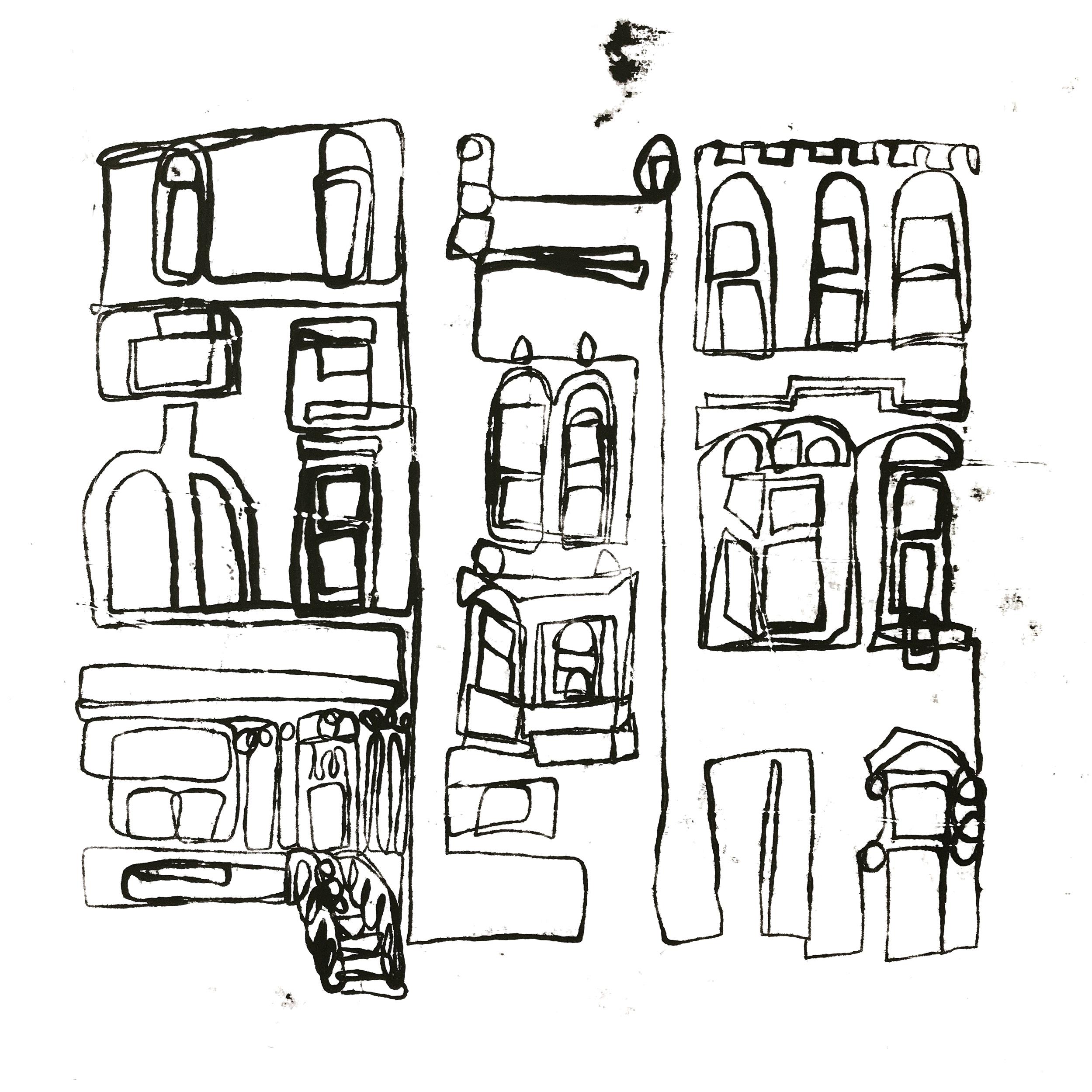 Greenwich village NYC Monoprint