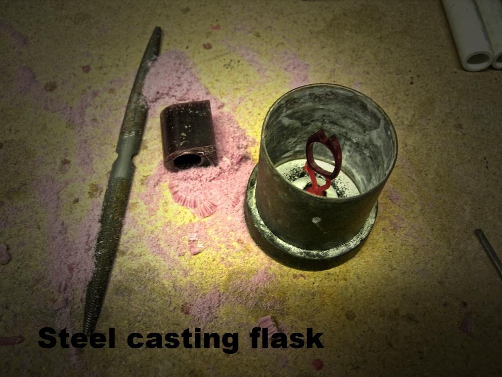 Wax in a steel flask.