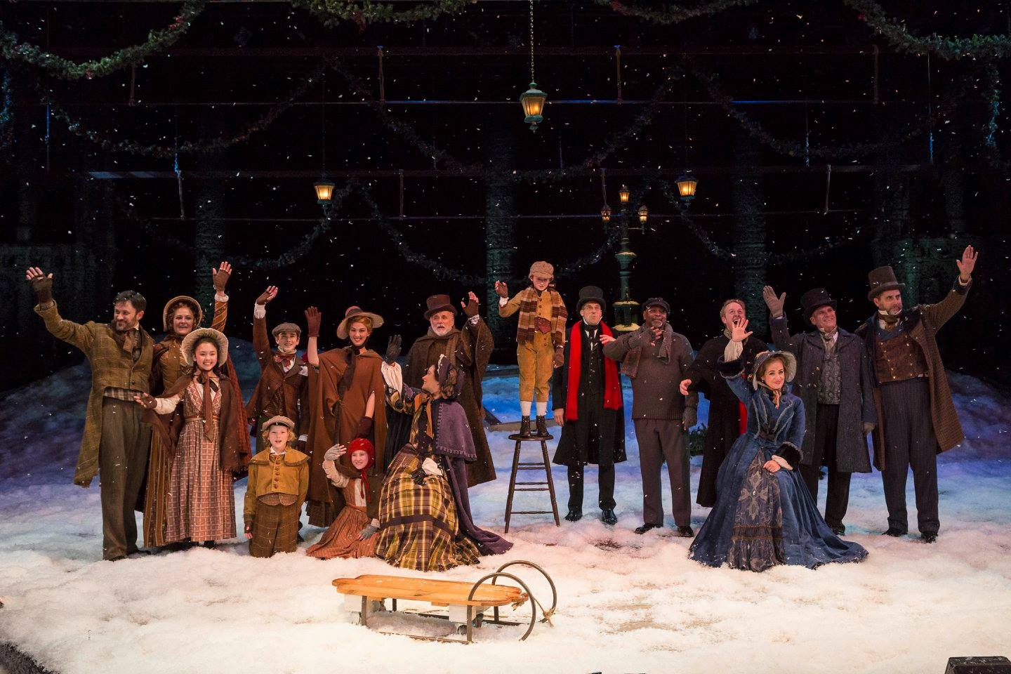 The cast of IRT's 2015 production of A Christmas Carol. Photo by Zach Rosing