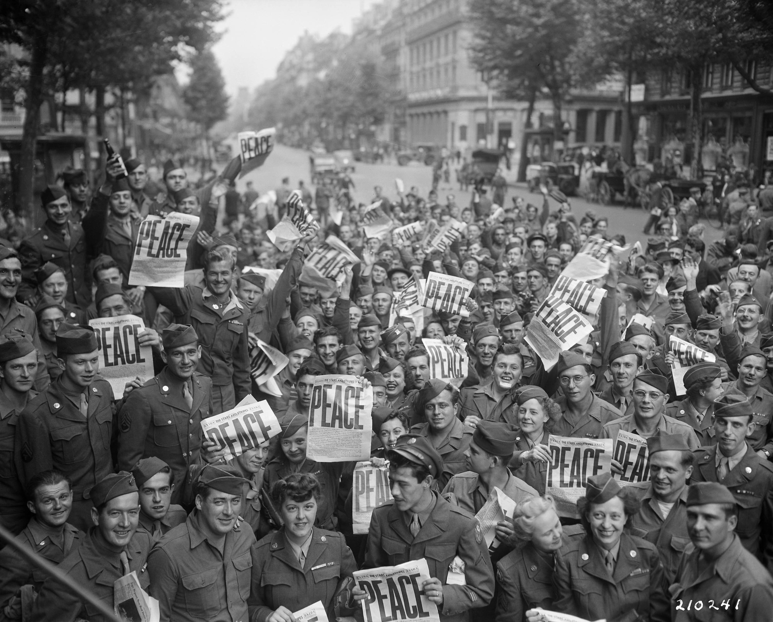 Allied Servicemen and Women in Paris Celebrating the Japanese Surrender (1945)