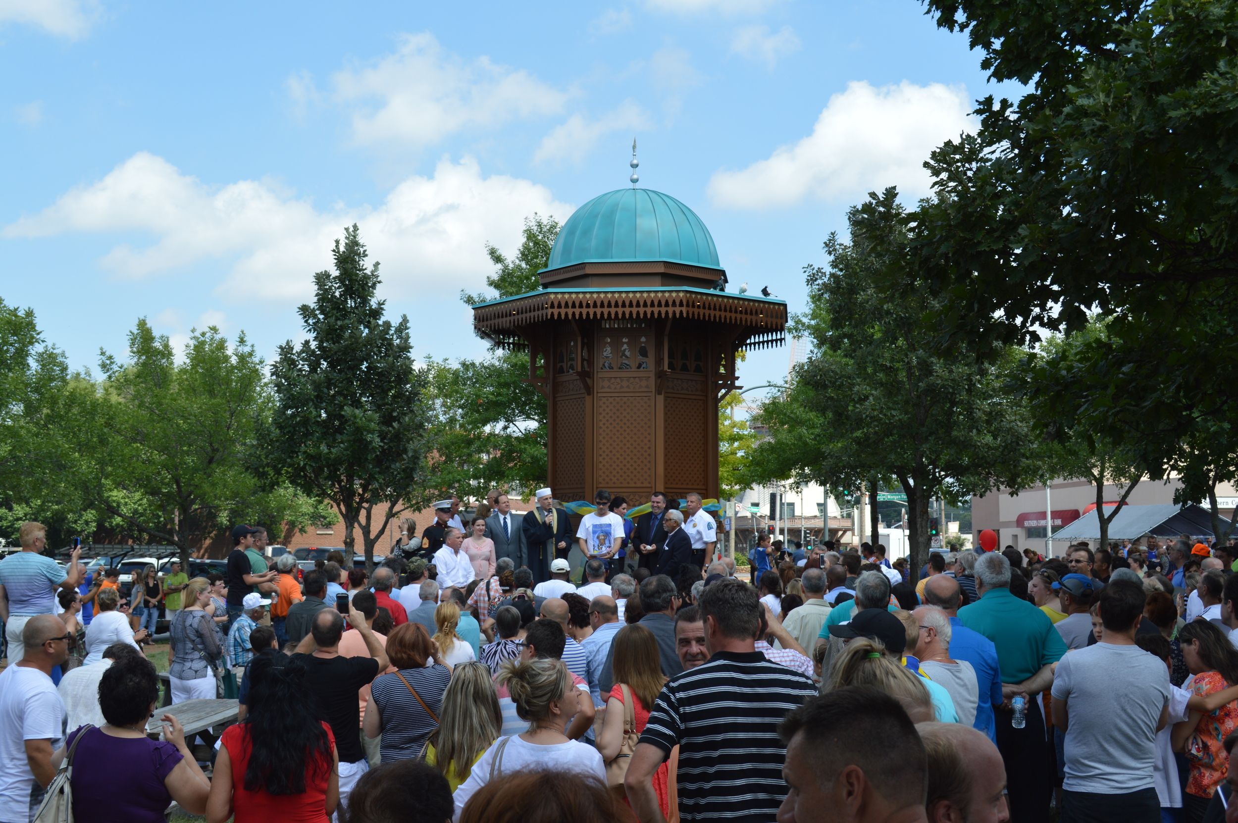 Dedication of Sebilj (public fountain) for 250th birthday of the City of St. Louis and Bosnian Festival in 2014. From the St. Louis Bosnian website.