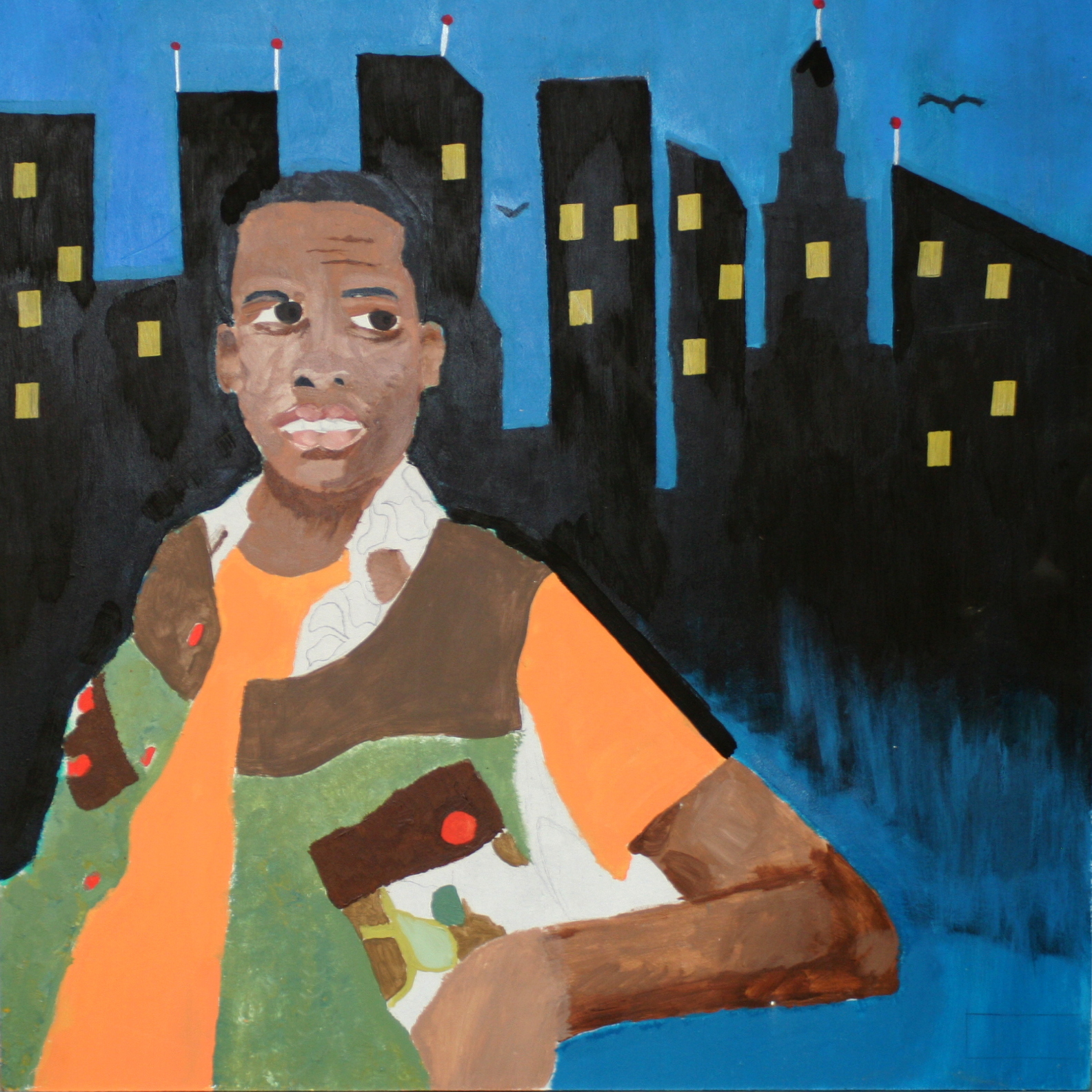 "MB made this painting of Lil Reese posted up on air in front of a floating city.  He's got super painting skills!  Lil Reese /Acrylic on Masonite/24""x24""/2015"